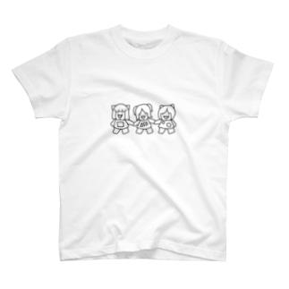 白黒三匹の子むすめ T-shirts