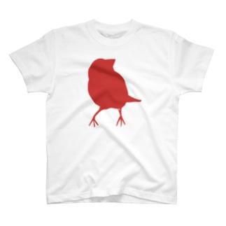 文鳥シルエット(cotoLiロゴ) T-shirts