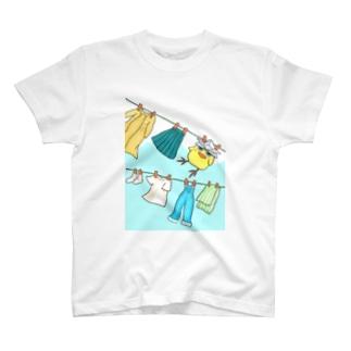とりかぶと将軍 お洗濯日和Tシャツ T-shirts
