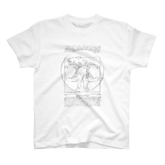 ウィトルウィウス的ニャン体図 T-shirts