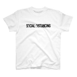SOCIAL DISTANCING CATS(Black) T-shirts