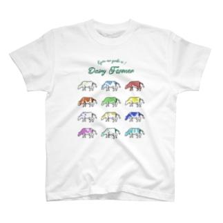 カラフルウシ(大) T-shirts