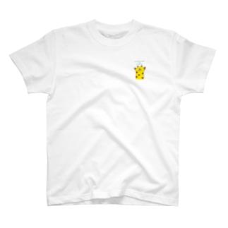 わちゃぽ宇宙人のふわふわのきりん🦒ワンポイント T-shirts