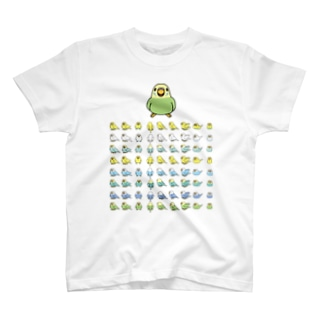 整列セキセイインコ隊【まめるりはことり】 T-shirts