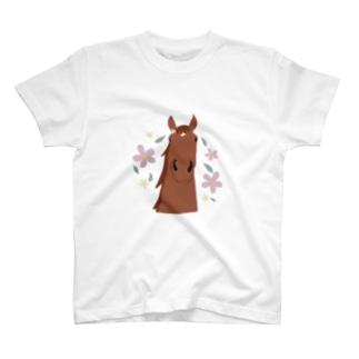 馬とお花(ブラウン) T-shirts