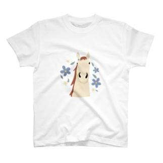 馬とお花(クリーム) T-shirts