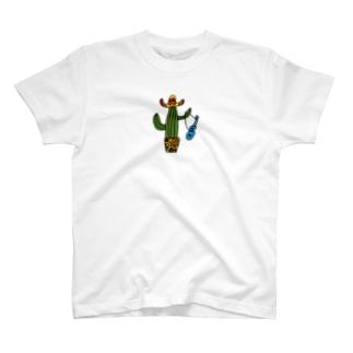 カラフルメキシカンサボテン、ウクレレひっさげるの巻 T-shirts