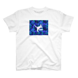 NYANKO 迷彩 カモフラ ブルー T-shirts