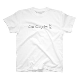 キュートキャタピラーズ 手書き英字デザインTシャツ(オオムラサキくん) ver1.1  T-shirts