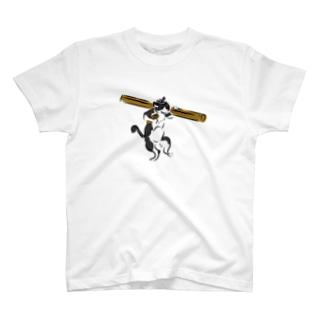 棟梁はちわれ猫の鳥獣人物戯画風Tシャツ T-shirts