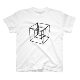 草笛鈴 / RIN KUSABUEの四次元超立方体 BLACK T-shirts