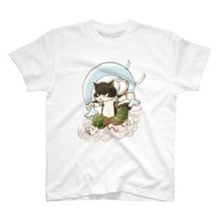 風猫雷猫図屏風 T-shirts