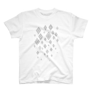 津軽こぎん刺し模様『snow modoco』白 T-shirts