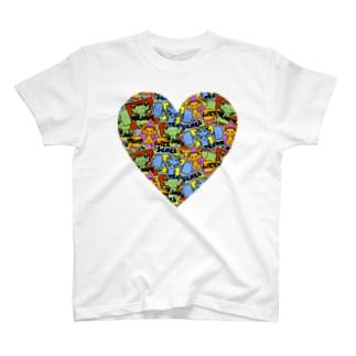 ハートTシャツ 7色展開(白・黒・赤・黄色・ピンク・緑・青) T-shirts