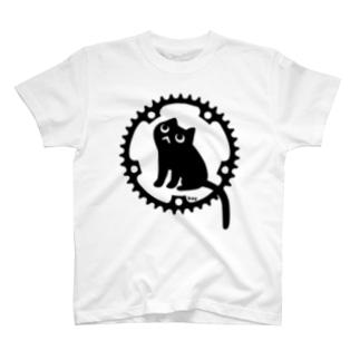 チェーンリングねこ・ブラック T-shirts