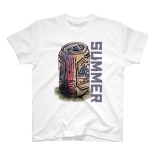 缶ビールSUMMERイラストデザイン T-shirts