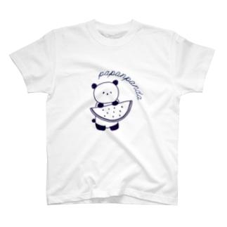 スイカ持つパンダ ネイビー T-shirts