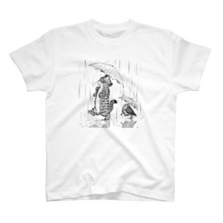 猫フク_雨 T-shirts