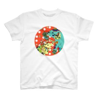 ゾウと四つ葉クローバー(赤) T-shirts