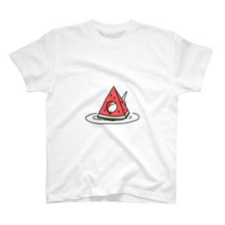 スイカVS文鳥 T-shirts