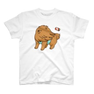 強風に立ち向かうポメラニアン(茶色) T-shirts
