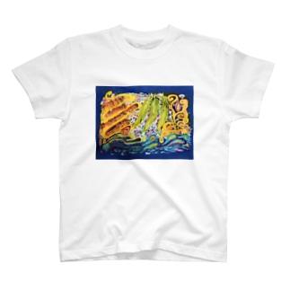 朝のマントラ バリ島バティック T-shirts