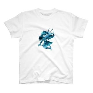 青の悪魔っ子シルエット T-shirts