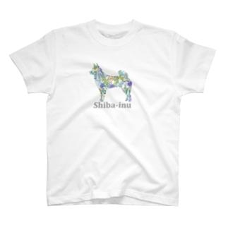 ボタニカル 柴犬 T-shirts