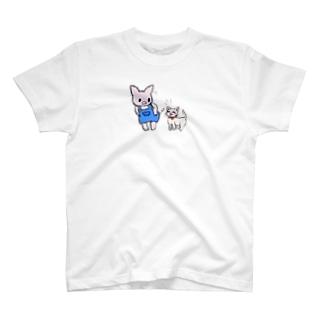 ブタのぶーたとネコのあずき T-shirts