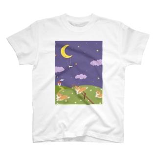 HUND-SPORTの夢の中のコーギー T-shirts