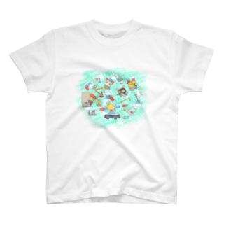 忙しいねこたち 昭和のデカ T-shirts