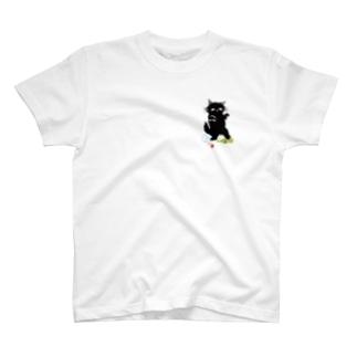 マイマイタケの酔拳キャット(黒猫ひかえめ) T-shirts