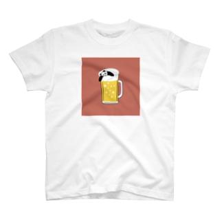 酔いどれパンダ♪ (ピンク) T-shirts