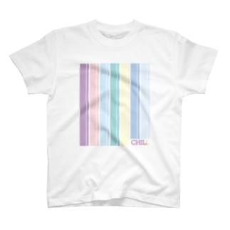 甘めのパステルストライプTシャツ T-shirts