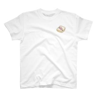 えぴぽろのおうち🐰ゆずぽろの昼休みのふかふか食パンで寝るゆずぽろ(イラスト小ver) T-shirts
