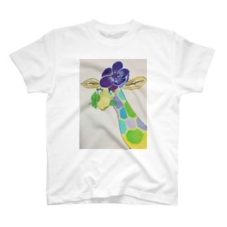 花飾りをしたきりんGoods T-shirts