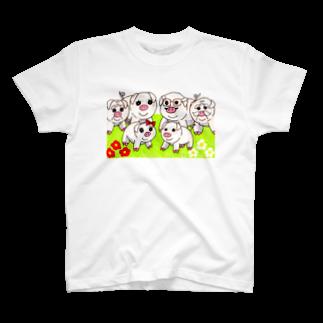 アートの輪の豚の家族 T-shirts