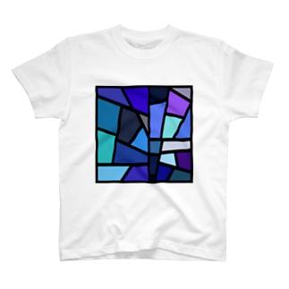 青のステンドグラス T-shirts