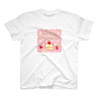 どるちぇ*うさぎの《フード01》*苺のショートケーキ*ピンク×白ドット T-shirts