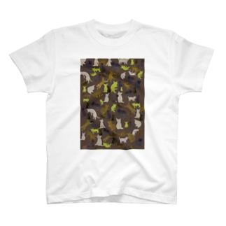 猫迷彩茶色 T-shirts