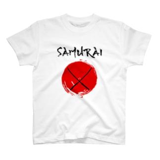 samurai サムライ 侍 刀 剣 日の丸 T-shirts
