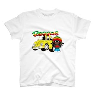 レゲエ・ボーイと車 T-shirts