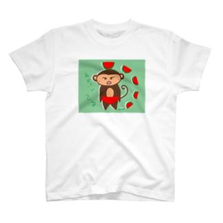 赤パンさるとすいか T-shirts