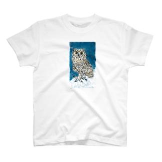 ふくろう30 アメリカワシミミズク(背景あり) T-shirts
