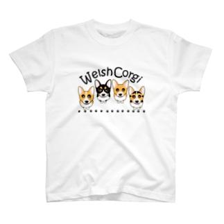 コーギー 4カラー集合☆横長 ABCDOGS T-shirts