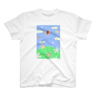 こぶしの花と気球の未来 T-shirts