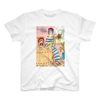 レトロマリン着物ガールのちいさなお茶会 T-shirts