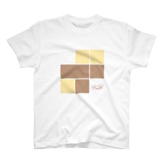 いぬかぞく 四角たくさん T-shirts
