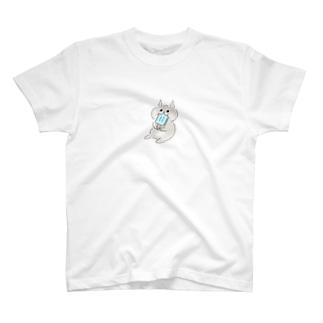 ムームー島のアイスを口いっぱいに入れたネコ T-shirts