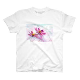 コスモス「どこまでも」透明水彩お花プリント T-shirts